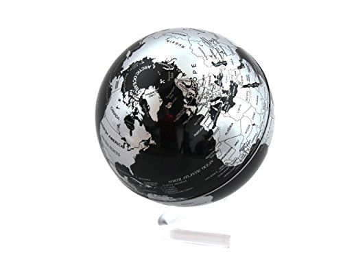 "Class Map - Self Rotating Black & Silver Globe 4"" Auto Spinning Rotary Globe Revolving Globe World Earth Map Globe Sphere Novelty Gift Home Office Decoration Kids Educational Geo Maps Desk Display Classroom Model"
