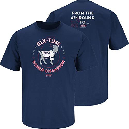 NE Football Fans. The Goat Navy T-Shirt (Sm-5X) (Short Sleeve, Large)