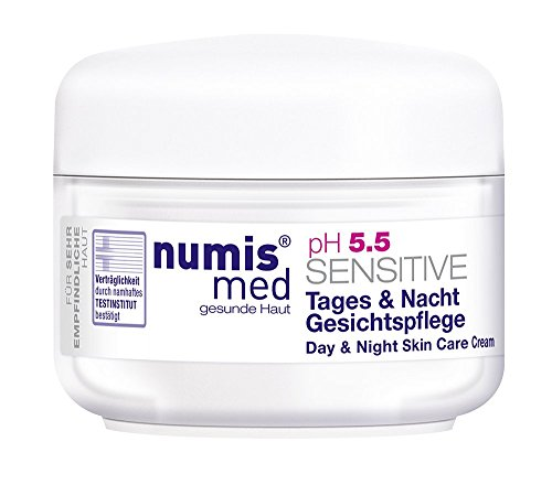 Face Cream For Dry & Sensitive Skin Imported from Germany Dermatologist Tested 5 Star Guarantee Low pH 5.5 Paraben Free Vegan Moisturizes And Protects Dry Irritated Skin 50 ml by Numis Med® (Daily Intense Cream 7 Hydrating)