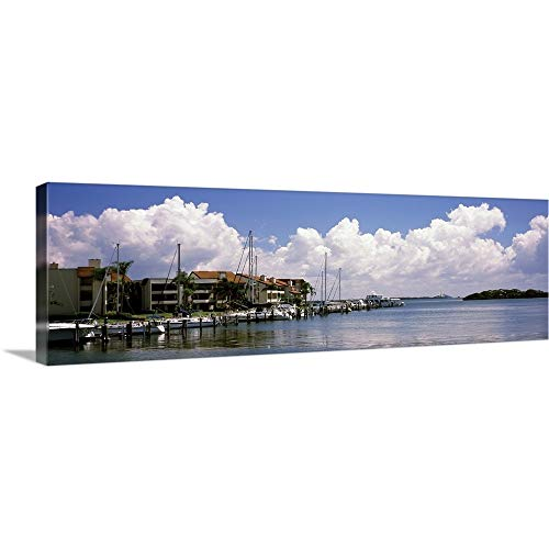 GREATBIGCANVAS Gallery-Wrapped Canvas Entitled Boats docked in a Bay Cabbage Key Sunshine Skyway Bridge in Distance Tampa Bay Florida by 36
