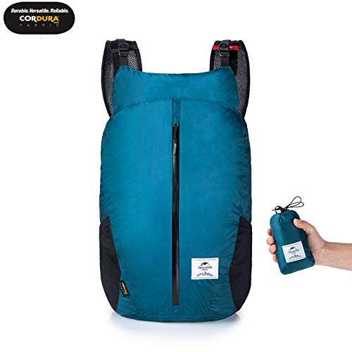 25L Ultralight Foldable Packable Small Hiking Daypack Backpack with Cordura Fabric for Women Men, Lightweight Waterproof for Climbing Camping Backpacking Cycling Bicycle Travel Airplane (Blue)