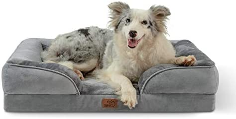 Bedsure Large Orthopedic Dog Bed, Bolster Dog Beds for Large Dogs – Foam Sofa with Removable Washable Cover, Waterproof Lining and Nonskid Bottom Couch