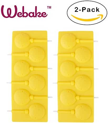 Webake 2-pack Smile Face Silicone Chocolate Mold,Candy Mold and Lollipop Mold with sticks