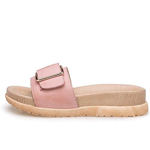 La moda de verano lleva un grueso fondo de la palabra sandalias/Zapatillas de cuero genuino hebilla lateral D