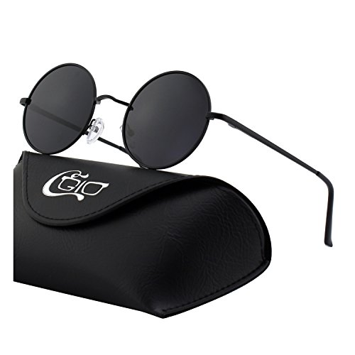 CGID E01 Small Retro Vintage Style John Lennon Inspired Circular Circle Metal Rimmed Round Polarized Sunglasses Goggles Shades for Women and Men with Gift Package ()