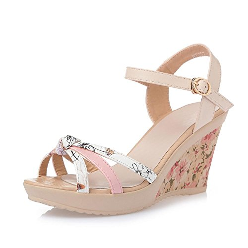 L@YC Girls Women Summer Sandals Sandals Leather Thick Casual Comfort High Heel Waterproof Platform, pink, 35