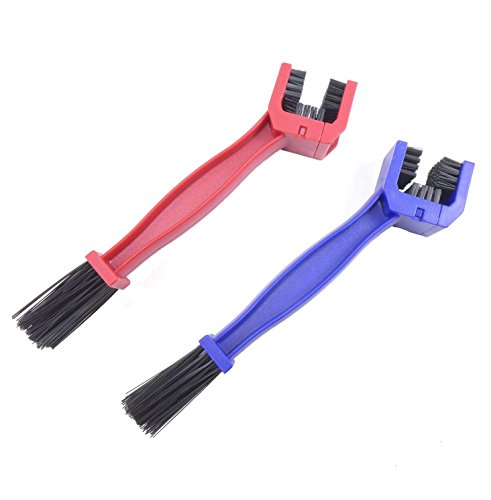 BlueSunshine 2 Pcs Motorcycle & Bike Chain Cleaning Tool - Multi-purpose for All Bikes - Works Great with Degreasers - Great Brush Action (Blue & Red ) (Synthetic Blend Chain Lube)