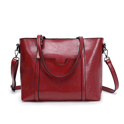 Female Bags Mengonee Bag Shoulder Leather Wine Purse Bucket Handbags Red Wallet Messenger Handbags Pu Women Sx0dxH
