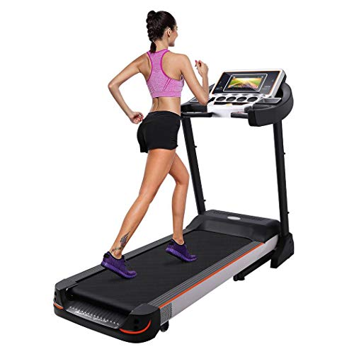 "Folding Fitness Treadmill Electric with Wheels and 10.1"" Large Touch Display Screen Walking Running Equipment for Home/Office Cardio Training Exercise Gym Machine Support WiFi"