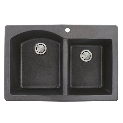 1.75 Medium Double Bowl - Transolid ATDD3322-09 Aversa 33-in x 22-in x 9.5-in Granite 1-3/4 D-Shaped Double Offset Drop-in Kitchen Sink with 1 Pre-Drilled Faucet Hole, Black