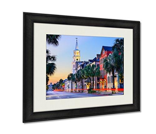 Ashley Framed Prints, Charleston South Carolinuscityscape Historic French Quarter Wall Art Decor Giclee Photo Print In Black Wood Frame, Soft White Matte, Ready to hang, 20x25 - French Quarter Charleston