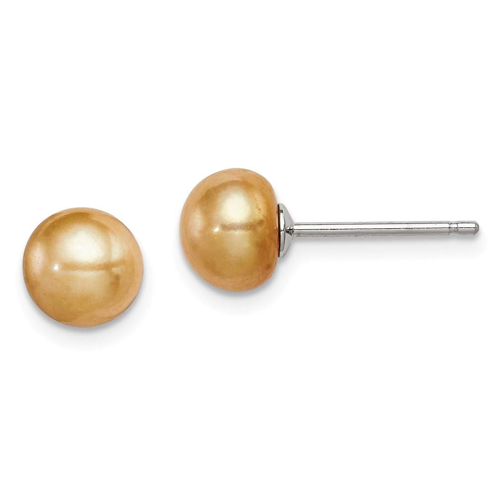 Solid 925 Sterling Silver 6-7mm FW Cultured Button Simulated Pearl Yellow Earrings