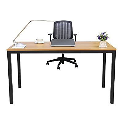 """FyGou Computer Desk,55"""" Large Office Desk Computer Gaming Table Study Writing Desk for Home Office - 【Environment Protection】Panel material is environmental E1-class standard particle wood. Durable steel frame with powder coat finish.Desk Size: L55"""" * W23.6"""" * H29.5"""",Good choice for study, home and office use. 【Modern and Stylish Design】Modern simple fashion, elegant and decent appearance provide comfortable working and study environment. With its open-concept design and clean aesthetic, this contemporary computer desk makes a perfect addition to any home office or work space. 【Multifunctional Desk】This table can be placed in your home study, bedroom and office to serve as a office desk,writing desk,gaming desk,study desk,student desk even dining table. - writing-desks, living-room-furniture, living-room - 41uFWXydfNL. SS400  -"""