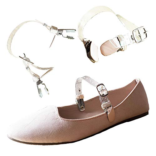 Eliza May Detachable Shoe Straps ShooStraps - to Hold Loose high Heeled Shoes, Wedges and Flats (Double Transparent Beige Clip) ()