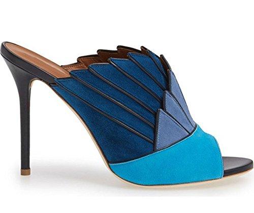 11sunshop Pumps Uccelli In Pelle Scamosciata Modello Callas Di Hgilliane Design In 33-44 Solo Per Misura Del Piede Bleu Dégradé