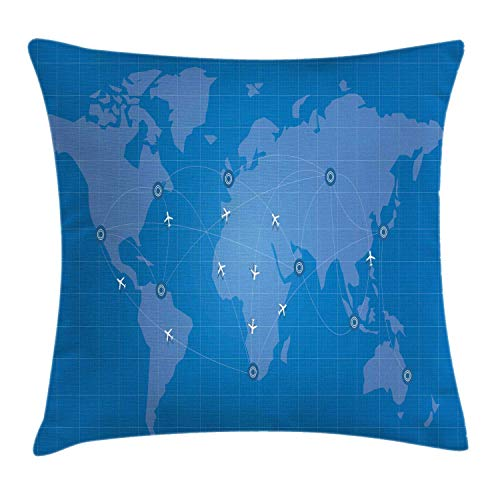 NBTJZT Airport Throw Pillow Cushion Cover, Illustration of Flight Routes on World Map with Minimal Plane Icons,Pillowcase 18X18 Inch, Sea Blue and Sky Blue