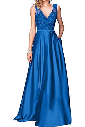 V Blau Spitze Promkleid Ivydressing Festkleid A Partykleid Damen Linie Lang Ausschnitt Abendkleider 5nxnqpwTSX