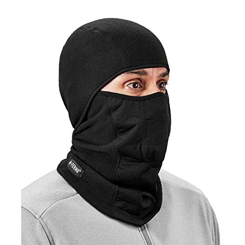 Ergodyne N-Ferno 6823 Balaclava Ski Mask, Wind-Resistant Face Mask, Hinged Design, Each, Black