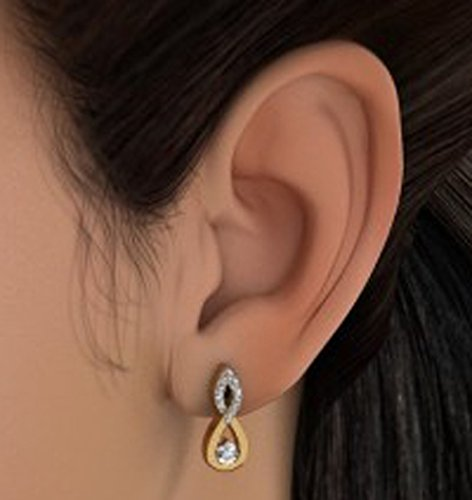 Or jaune 18 K 0,33 CT TW White-diamond (IJ | SI) Boucles d'oreille à tige