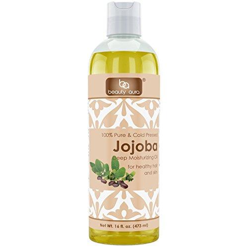 Beauty Aura Jojoba Oil - 16 fl oz (473 ml) - For Healthy Hair, Skin & Nails.