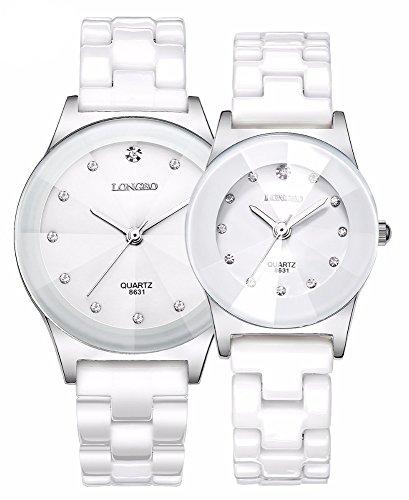 Luxury Casual Men Women Ceramic Fashion Couple Sports Rhinestone Waterproof Quartz Girls Watches (White) by Fanmis