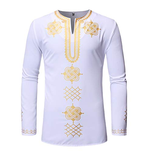 (JJLIKER Mens African Tribal Clothing Printed Floral Henley Shirt Slim Fit Dashiki Tees Long Sleeve Casual Tops Black )