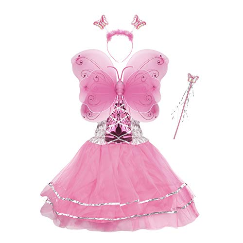 (Girls Dress Up Princess Fairy Costume Set with Dress, Wings, Wand and Headband for Children Ages)
