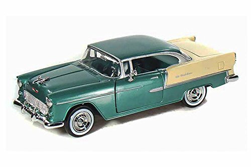 (1955 Chevy Bel Air, Green - Motormax 73229 - 1/24 scale Diecast Model Toy Car)