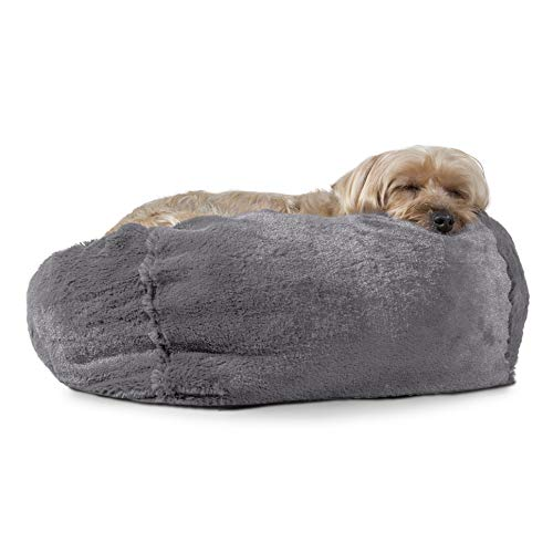 Furhaven Pet Dog Bed | Round Plush Ball Pet Bed for Dogs & Cats, Silver Gray, Small