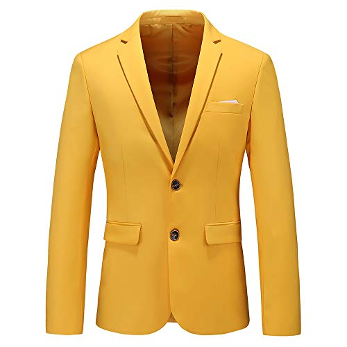 Mens Casual Two Button Single Breasted Suit Jacket Modern Wedding Tux Blazer US Size 40 (Label Size 4XL) Yellow