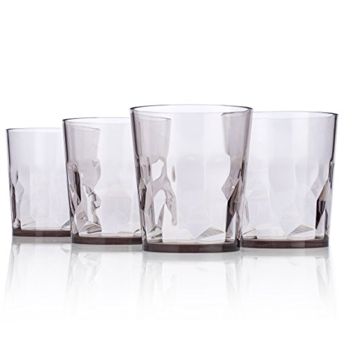 Copper Champagne Bowl (8 oz Premium Juice Glasses - Set of 4 - Unbreakable Tritan Plastic - BPA Free - 100% Made in Japan (Smoky Gray))