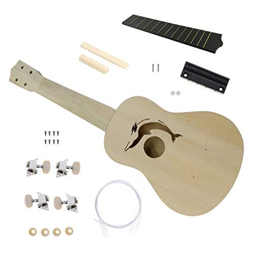Binory DIY Ukulele Kit Make Your Own Ukulele Soprano Hawaii Ukulele Kit with Installation Parts, Hawaii Guitar Wooden Craft Musical Instrument for Kid Adult Beginner Birthday Gift 21inch Dolphin