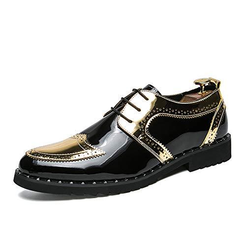 Xujw-shoes, 2018 Scarpe Stringate Basse Tacco piatto da uomo Stringate stringate alla moda in stile inglese (Color : Nero, Dimensione : 40 EU) Gold
