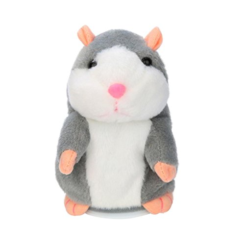 TANGON Cute Repeat Talking Hamster Repeats What You Say Plush Animal Toy for Children/Toy Gifts Birthday Gifts Christmas Gift,Childrens Day Gift 3.5 x 5.9 inches (Gray)