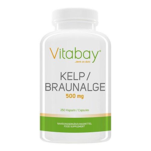 Kelp 500 mg - Braunalge - 250 Kapseln - Natürliche Quelle Für Jod