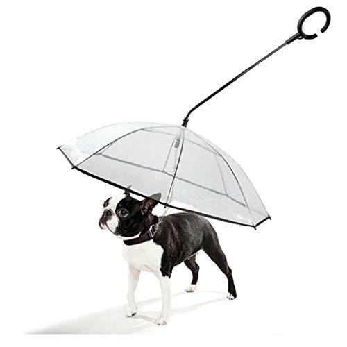 ペットの傘[C型伸縮ハンドル]透明な引き込み式のハンドルペット犬の傘フリーウォーキングドッグリーシュロープ透明ペットの傘C型犬のウォーキング犬ベルトハイエナ防水透明傘ファッションペット傘強力で耐久性犬の雨を防ぐために人間工学的デザイン (白)の商品画像