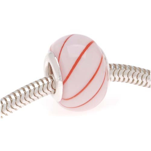 Lightweight Hand Blown Glass Pink Red Candy Stripe - European Style Large Hole Bead - 14mm (1) (Hand Blown Glass Round Beads)