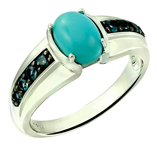 (RB Gems Sterling Silver 925 Ring GENUINE GEMSTONE Cabochon 8x6 mm, 2 Carats with Rhodium-Plated Finish (11, turquoise))