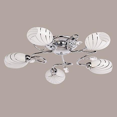 Lámpara de techo moderna con 5 apliques de metal, blanco ...