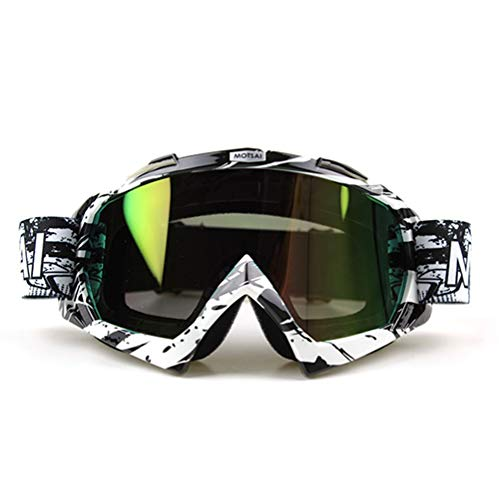 Runspeed Motorcycle Goggles, Ski Snowboard UV Protection Anti-Fog Dual-Lens Helmet Compatible Men Women Wnter Sports Snow Skiing Snowboarding Tactical Shooting (Black/White, Rainbow)