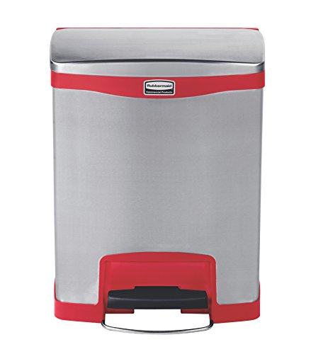 Rubbermaid Commercial Slim Jim Stainless Steel Front Step-On Wastebasket, 8-gallon, Red (1901988) by Rubbermaid Commercial Products (Image #1)