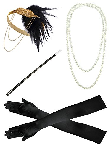 Zivyes 1920s Gatsby Flapper accessories Headband Necklace Gloves Cigarette Holder