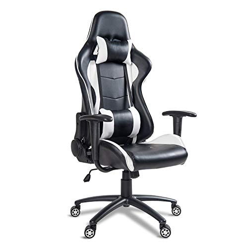 MIERES Video Gaming Chair Racing Office-PU Leather High Back Ergonomic 170 Degree Adjustable Swivel Executive Computer Desk Task Large Size with Footrest,Headrest and Lumbar Support, ((Black/White)