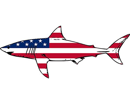 (Rogue River Tactical Shark Fish USA Flag Sticker Decal Fishing Bumper Sticker Fish Patriotic United Auto Decal Car Truck Boat RV Real Life Rod Tackle Box)