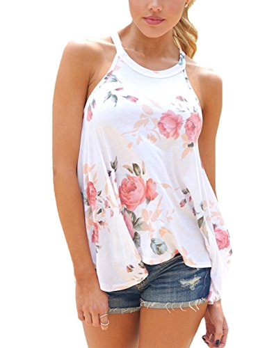 - Womens Tank Top Summer Sexy Sleeveless T-Shirts Tank Top White