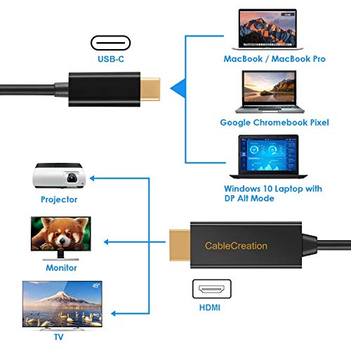 USB C to HDMI Cable, CableCreation 6 FT USB Type C to HDMI Cable,Compatible  with MacBook Pro 2019/2018, MacBook Air/iPad Pro/Mac Mini 2018, Dell XPS