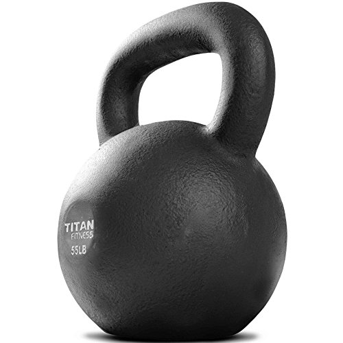 Titan Fitness Cast Iron Kettlebell Weight 55 lb Natural Solid Workout Swing