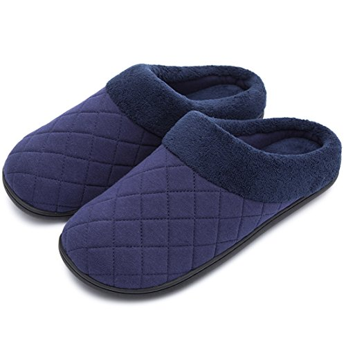 Men's Comfort Quilted Memory Foam Fleece Lining House Slippers Slip On Clog House Shoes (Medium/9-10 D(M) US, Navy Blue) (Lining Quilted)