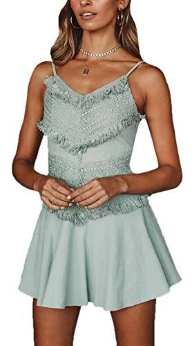 Cuello V de Vestido Mini Cintura Plisado Krere de para 1 con Elegante en tamaño Correa Azul Espagueti Alta 2 Mujer Color vxx0P6OwXq