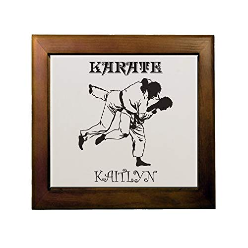 Personalized Custom Text Karate Ceramic Tile in Wood Frame